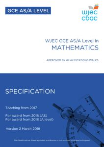 AS/A Level Further Mathematics Specification