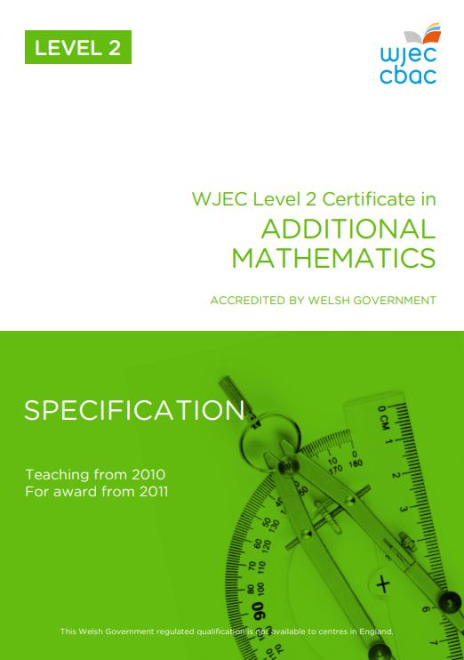 WJEC Level 2 Additional Mathematics